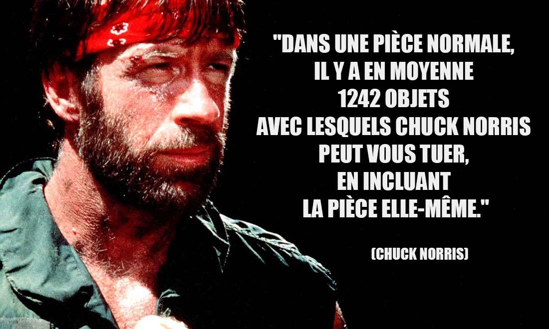 Chuck Norris Dans une piece normale il y a en moyenne 1242 objets avec lesquels Chuck Norris peut vous tuer en incluant la piece elle meme