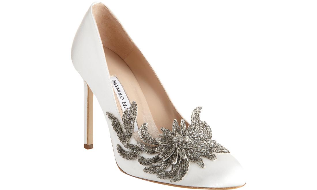 Swan Embellished Satin Pump White (Manolo Blahnik)