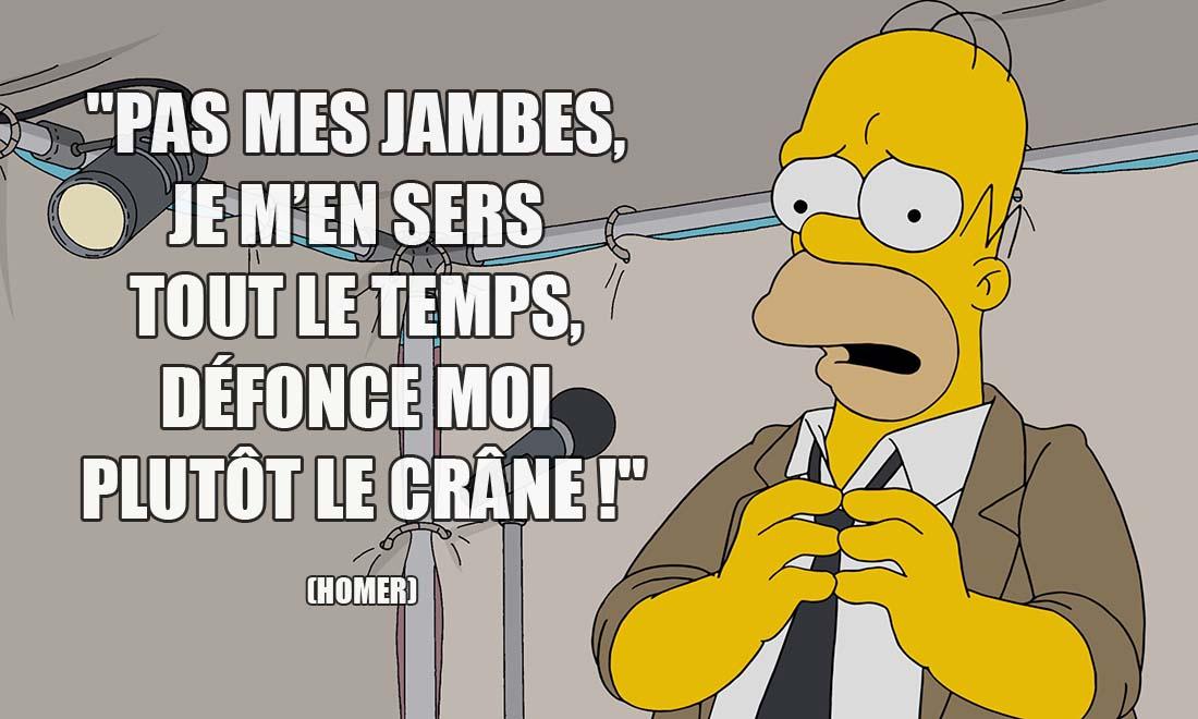 homer simpson pas mes jambes je m en sers tout le temps defonce moi plutot le crane