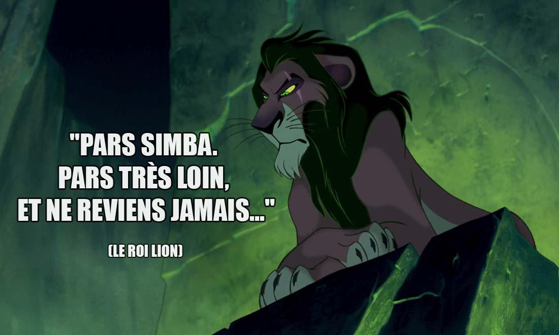 le roi lion scar pars simba pars tres loin et ne reviens jamais